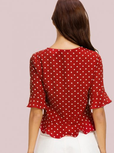 OneBling White Red Polka Dot Ruffled Hem Crop Blouse