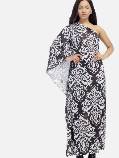 OneBling Plus Size Bohemian Print Cape Kimono Sleeve Draped Detail One Shoulder Maxi Dress