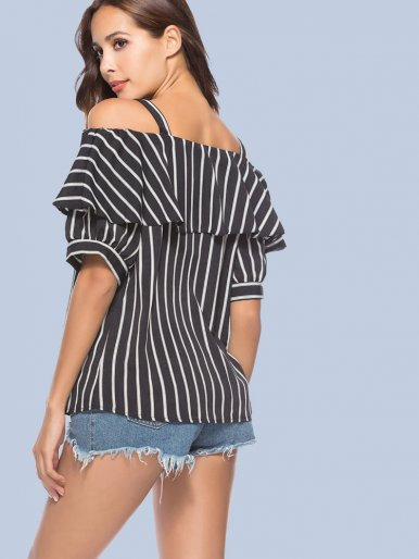 OneBling Cold Shoulder Striped Blouses with Ruffles Layer