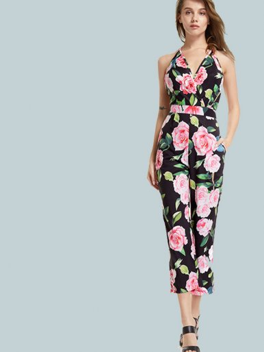 OneBling Open Back Wrap Front Cropped Jumpsuits In Floral Print