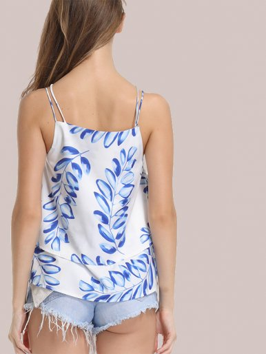 OneBling Leaf Print Sleeveless Tiered Tops with Double Straps