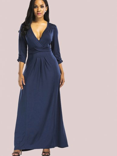 OneBling Plus Size Ruched and Pleated Detail Maxi Wrap Dress with 3/4 Length Sleeve