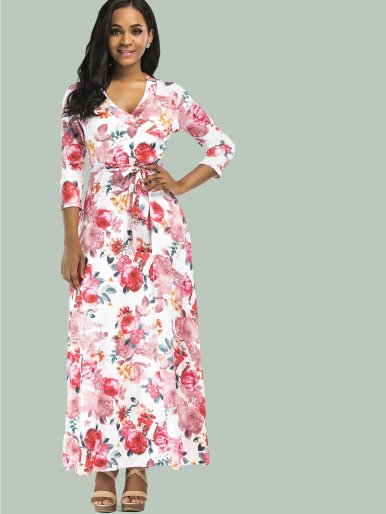 OneBling Sexy Cross V-Neck Three Quarter Sleeve Floral Printed Women Floor Length Dress with Belts