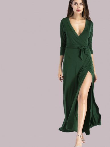OneBling 3/4 Sleeve Plunge Neck Wrap Maxi Dress
