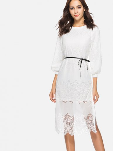 OneBling Ballon Sleeve Slit Side Scallop Hem Lace Dress