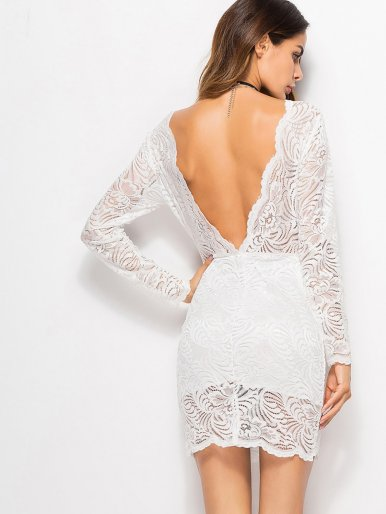 OneBling Plunge Back Scallop Trim Lace Bodycon Mini Dress
