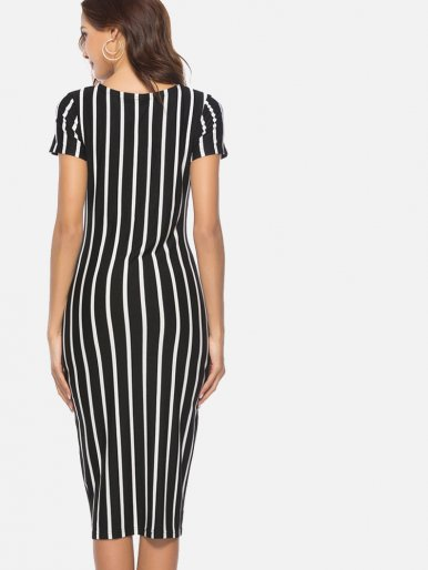 OneBling Short Sleeve Midi Pencil Dress In Striped Print