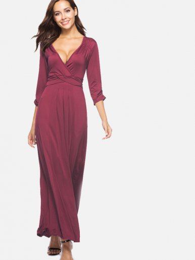OneBling Plus Size Wrap Front Ruched and Pleated Detail Deep Plunge Maxi Dress