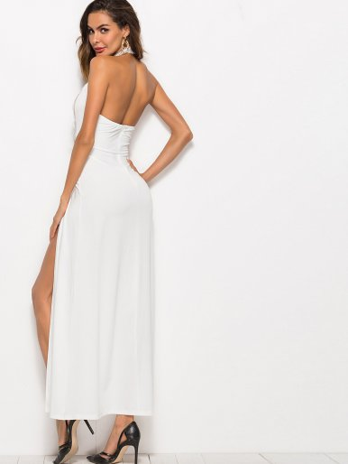 OneBling Embroidered and Mesh Insert Ladder Detail Maxi Halter Dress with Doube Split