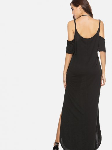 OneBling Open Shoulder Draped Sleeve Slit Side Cami Straps Maxi Dress
