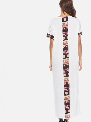OneBling Batwing Sleeve Printed Trim Contrast Maxi Dress