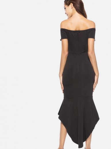 OneBling Asymmetric Ruffles Hem Plunge Front Off Shoulder Maxi Dress
