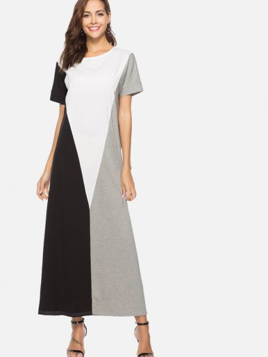 OneBling Colour Block Maxi T-Shirt Dress