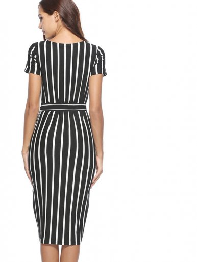 OneBling Contrast Striped Pencil Dress with Belt