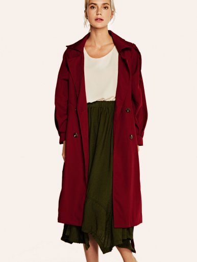 OneBling Raglan Sleeve Double Breasted Trench Coat with Belt