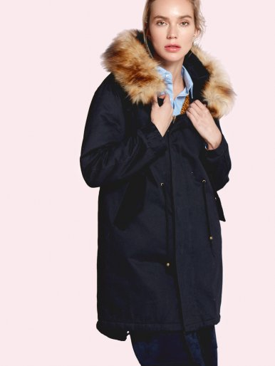 OneBling Drawstring Waist Hooded Padded Jacket with Detachable Faux Fur Trim