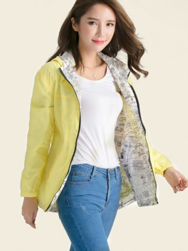 Drawstring Hem Hooded Jacket with Printed Liner