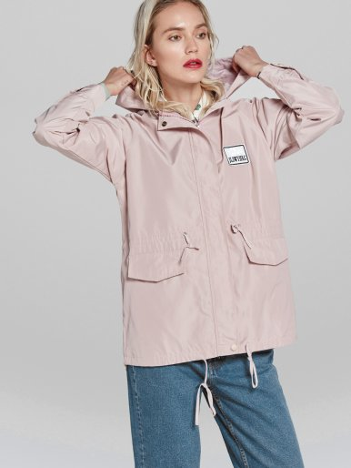Letter Patch Hooded Trench Coat with Drawstring Design