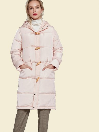 OneBling Button Detail Hooded Long Padded Jacket