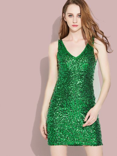 OneBling Sleeveless Double V Collar Sequins Pencil Dress