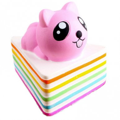 OneBling Cute Kawaii Cat Triangle Rainbow Cake Squishy Slow Rising Squeeze Toys Soft Lovely Decor Props