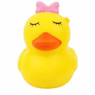 OneBling Squishy Mini Eyes Shut Yellow Duck Soft Slow Rising Charm Strap Pendant Toys Squeeze Toys