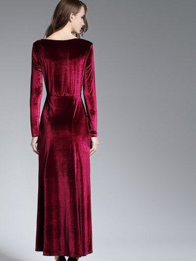 OneBling Plus Size Wrap Front Long Sleeve Split Fishtail  Velvet Maxi Dress