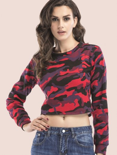 OneBling Camo Fleece Cropped Sweatshirt
