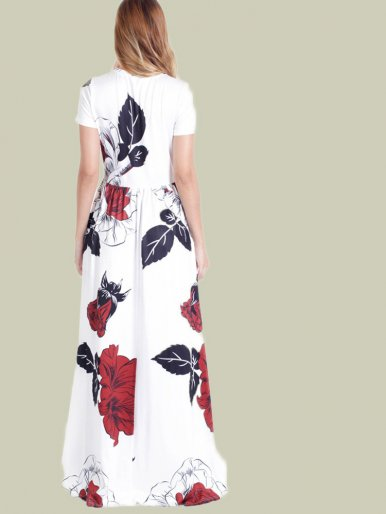 OneBling Rose Print O-Neck Short Sleeve Pocket Detail Maxi Dress