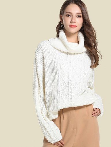 OneBling Oversized Chunky Cable Knit High Neck Batwing Sleeve Sweater