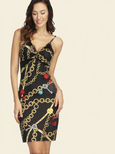 OneBling Twist Front Backless Plunge Bodycon Mini Dress In Chain Print
