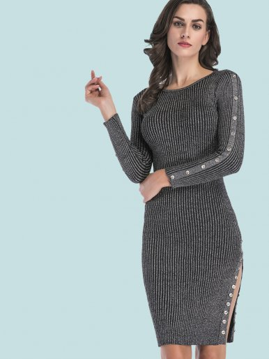 OneBling Button Trim Rib Knit Bodycon Midi Dress with Split Side