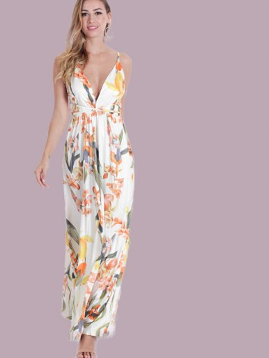 OneBling Floral Print Cross Back Split Front Plunge Maxi Dress
