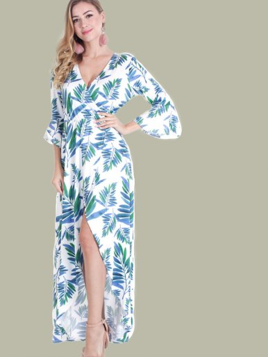 OneBling Fluted Sleeve Maxi Wrap Dress In Palm Leaf Print