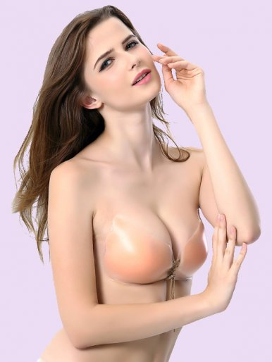Lace-Up Front Wing Shape Silicone Invisible Bra