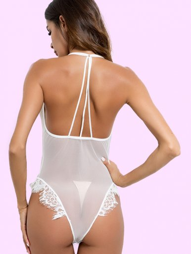 OneBling Scallop Trim Strappy Back Deep Plunge Mesh and Lace Bodysuit