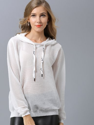 OneBling Sheer Knit Letter Drawstring Hoodies