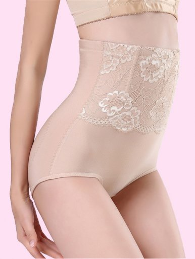 OneBling High Waist Shapewear Lace Detail Women Tummy Slimming Control Shorts