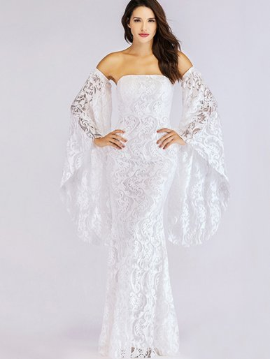 OneBling Exaggerated Bell Sleeve Fishtail Maxi Bandeau Dress In Jacquard Lace