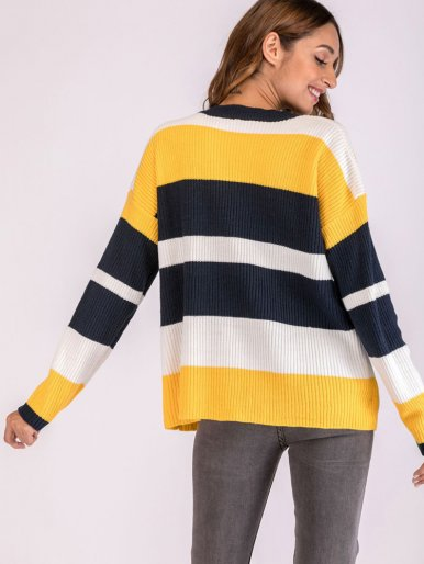 OneBling Oversized Drop Shoulder Striped Jumper