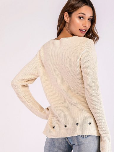 OneBling Metal Eyelet Hem V-Neck Knit Jumper