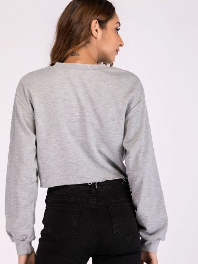 OneBling Raw Hem Cropped Sweatshirt with Graphic