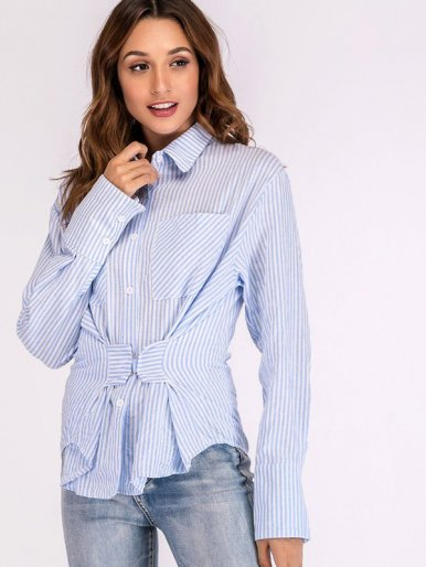 OneBling Dual Pockets Curved Hem Striped Shirt