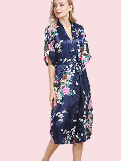 Plus Size Self Belted Peacock and Floral Print Satin Longline Robes