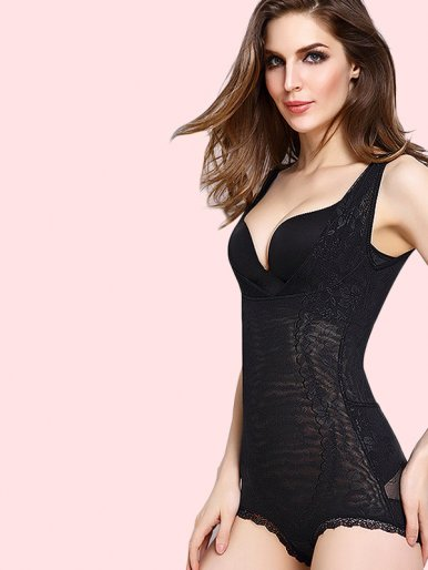 OneBling Plus Size Firm Control Slimming Bodysuit Shaper with Lace Trim