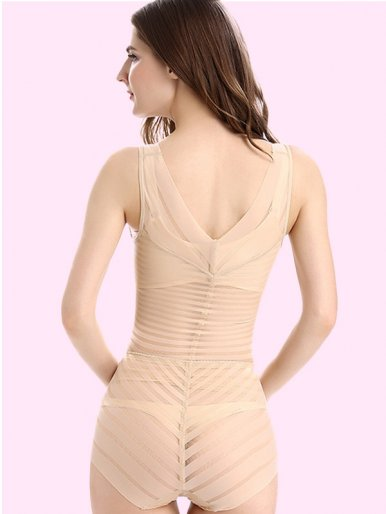 Women Shapewear High Waist Firm Control Striped Bodysuit
