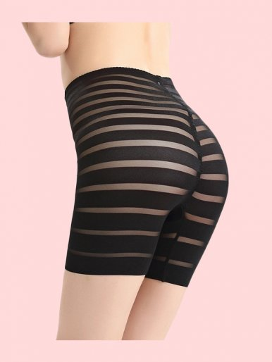 Striped High Waist Control Panty Tummy Slimmer Shorts Women Shapewear