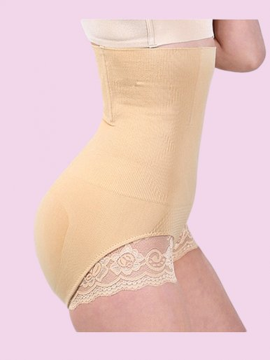 High Waist Steel Boned Seamless Tummy Control Panty Shaper with Lace Trim