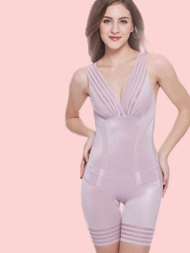Striped Contrast Open Crotch Smooth Body Shapewear