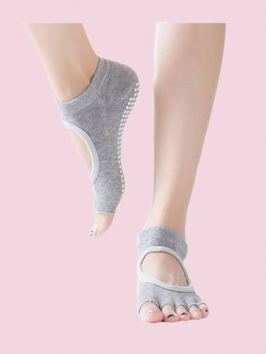 Instep Hollow Out Half Toe Grip Anti-Slip Ballet, Yoga Toe Socks for Women